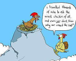 We set the students of London Art College a challenge to create a cartoon based on 'Why did the chicken cross the road?' This is one of mine...