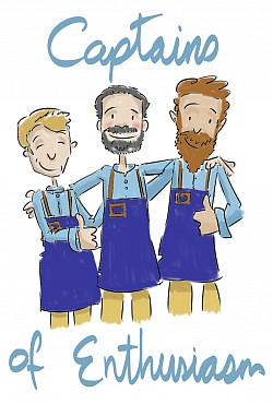 Caricature of the three proprietors of Duxes in Linkoping, Sweden