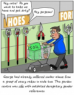 A cartoon which ignores Reg Smythe's 'Fresh Fish' rule